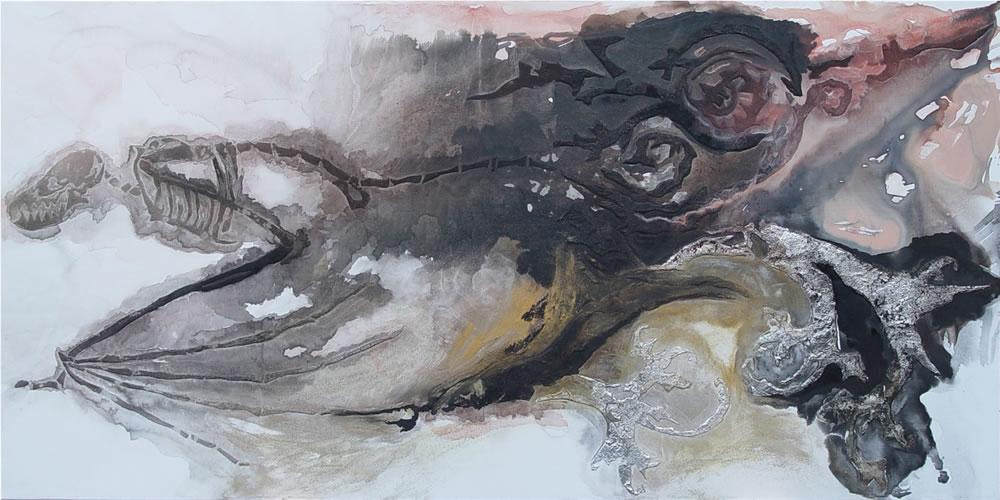 Vliegende Draak van Zhao, 2007, Inkt, acrylverf, bladgoud, bladzilver en cement op doek, 100x200 cm.