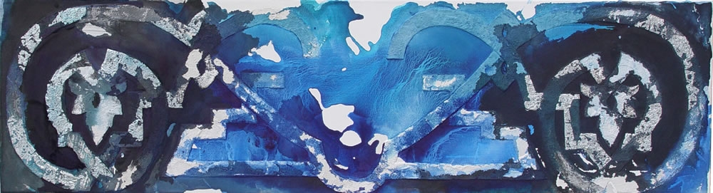 Weerklank van God, 2008, Inkt, acrylverf, bladzilver, bladaluminium en cement op doek, 50x180x4 cm.